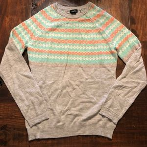 Coral, teal and gray sweater